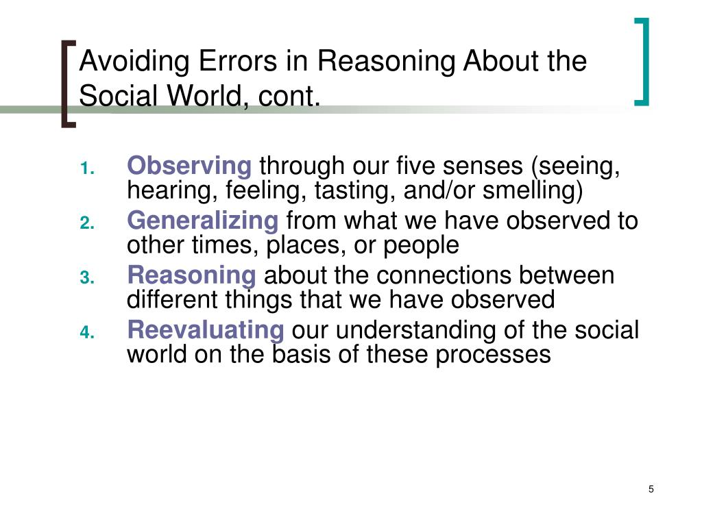 Avoiding Errors in Reasoning About the Social World, cont.