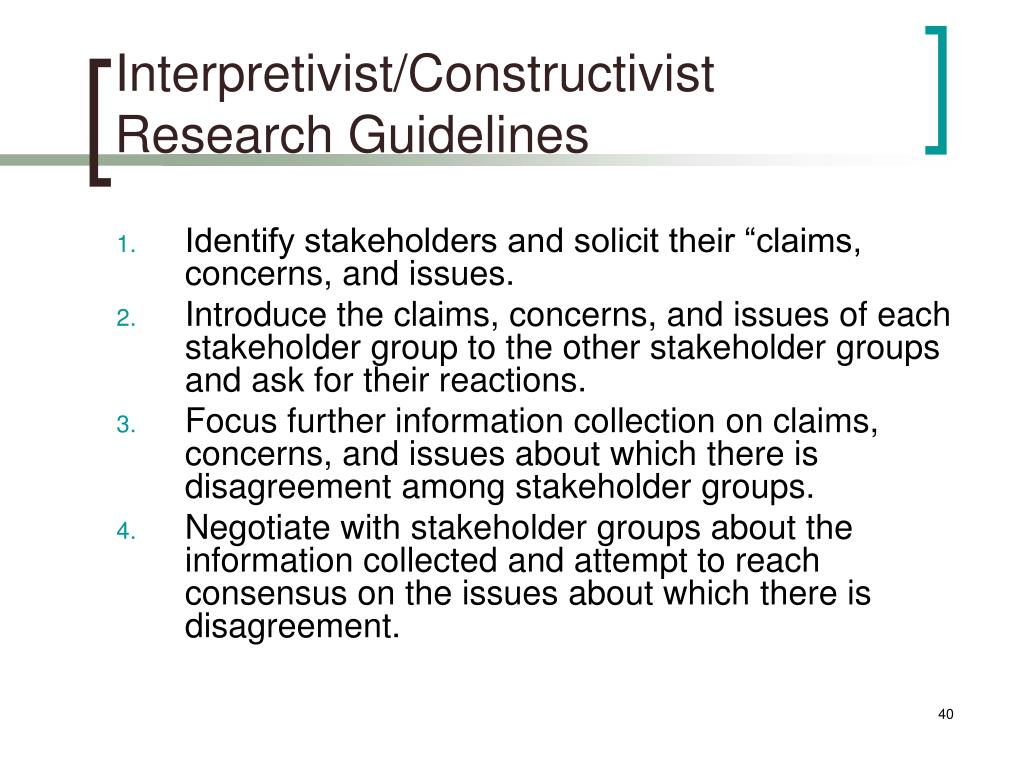 Interpretivist/Constructivist Research Guidelines