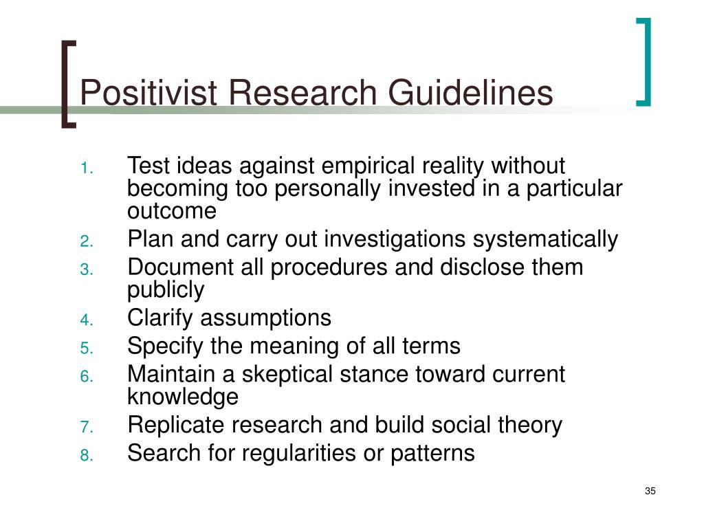 Positivist Research Guidelines