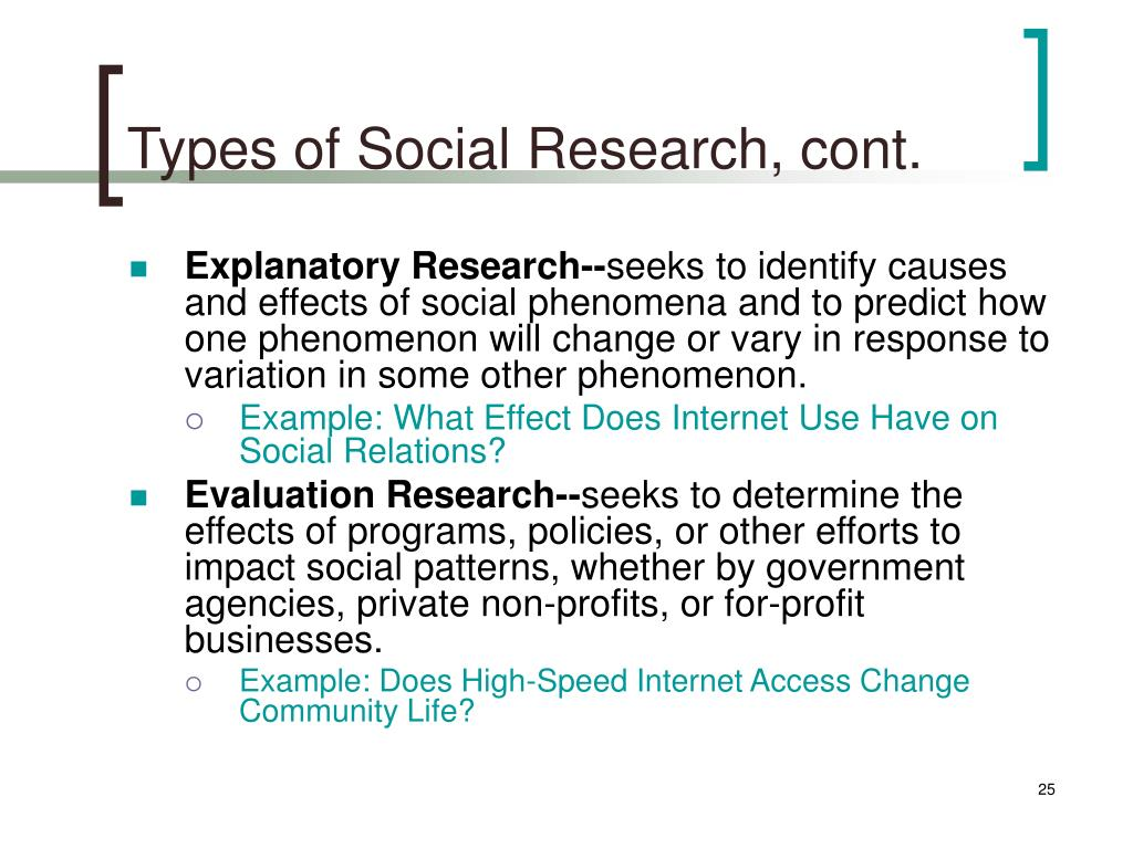 Types of Social Research, cont.