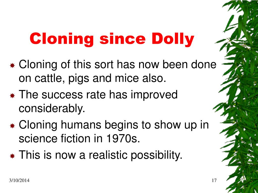 Cloning since Dolly