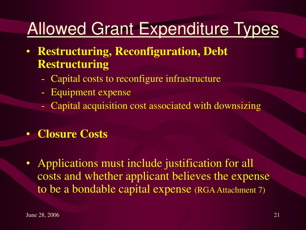 Allowed Grant Expenditure Types