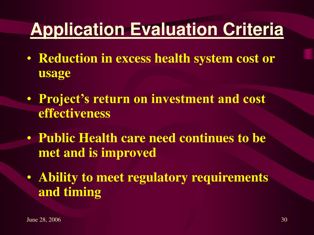 Application Evaluation Criteria