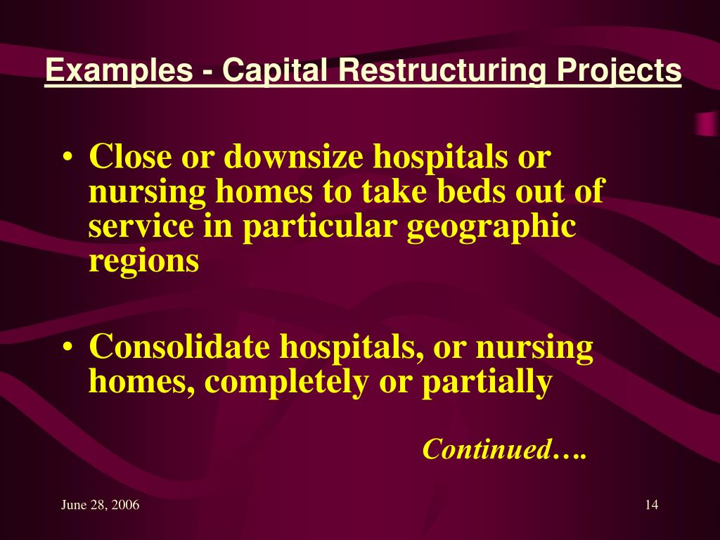 Examples - Capital Restructuring Projects