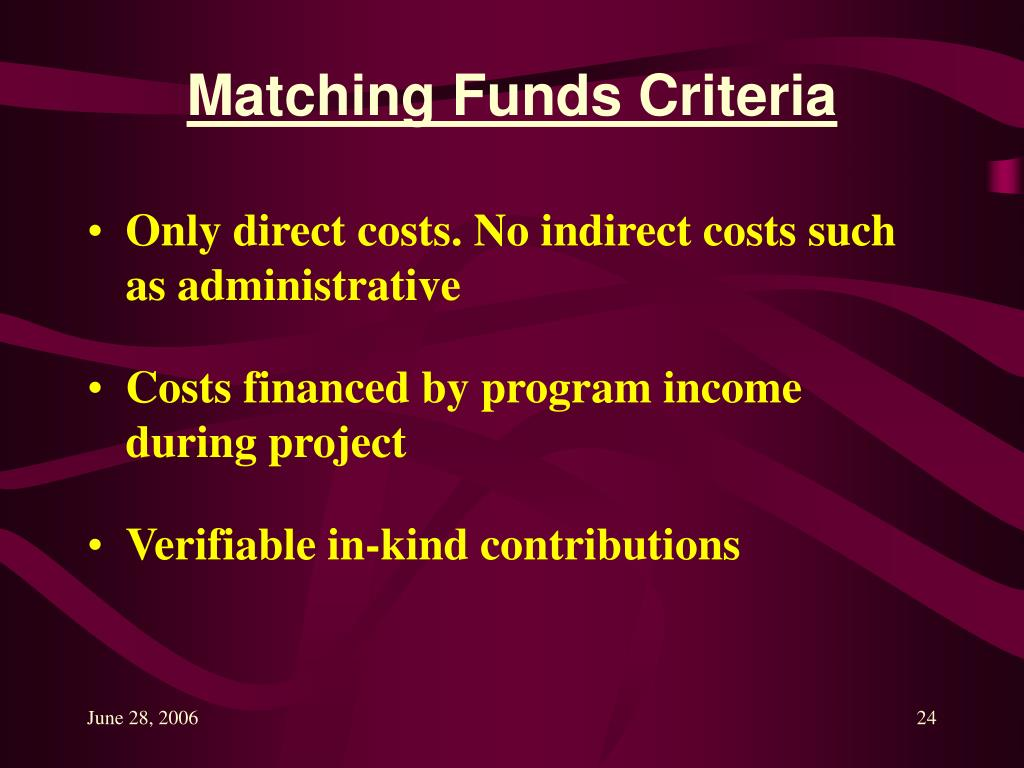 Matching Funds Criteria