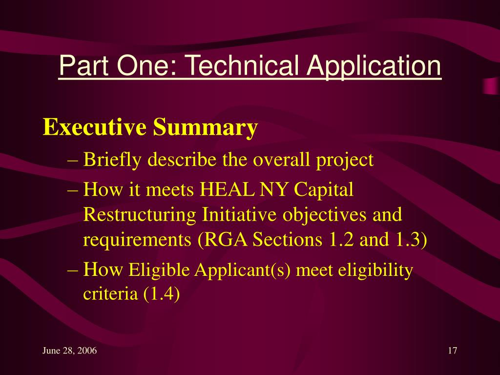 Part One: Technical Application
