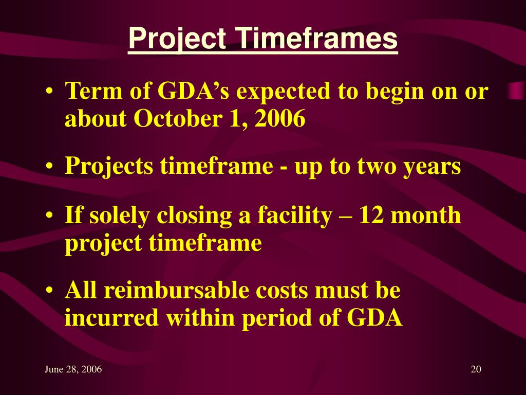 Project Timeframes