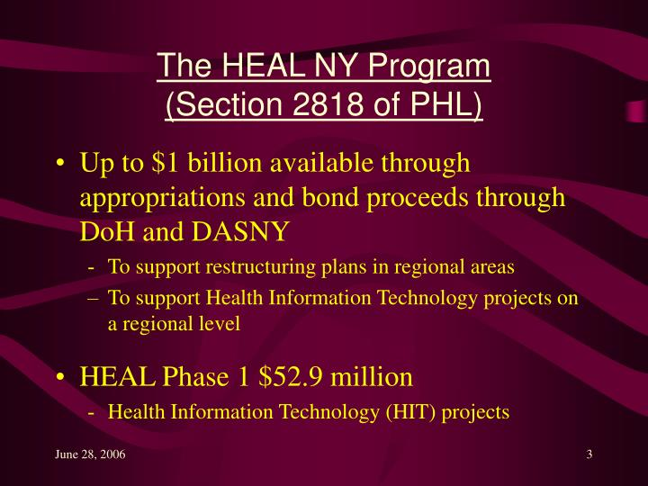 The heal ny program section 2818 of phl