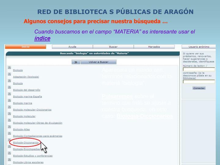 RED DE BIBLIOTECA S PÚBLICAS DE ARAGÓN