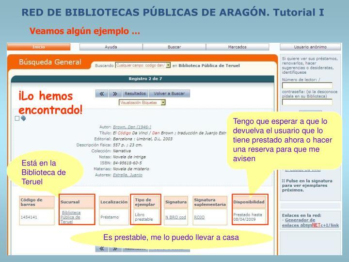 RED DE BIBLIOTECAS PÚBLICAS DE ARAGÓN. Tutorial I