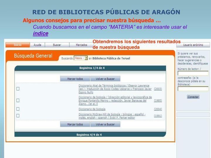 RED DE BIBLIOTECAS PÚBLICAS DE ARAGÓN