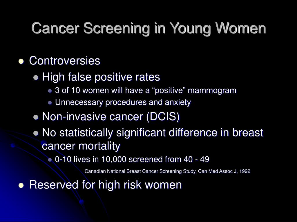 Cancer Screening in Young Women