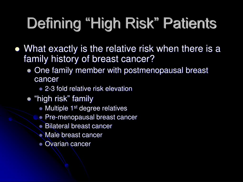 """Defining """"High Risk"""" Patients"""