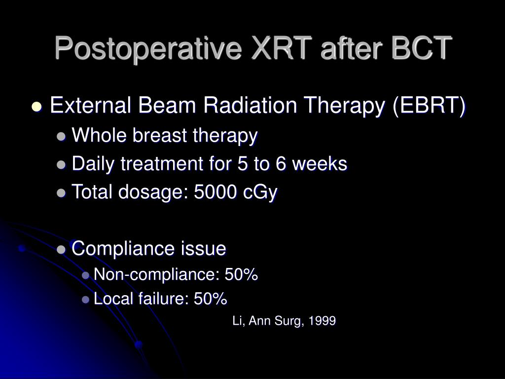 Postoperative XRT after BCT