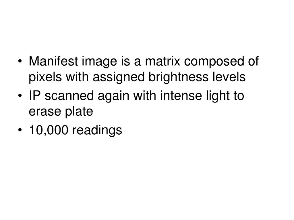 Manifest image is a matrix composed of pixels with assigned brightness levels