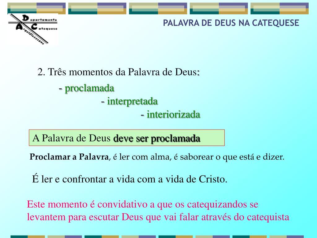 PALAVRA DE DEUS NA CATEQUESE