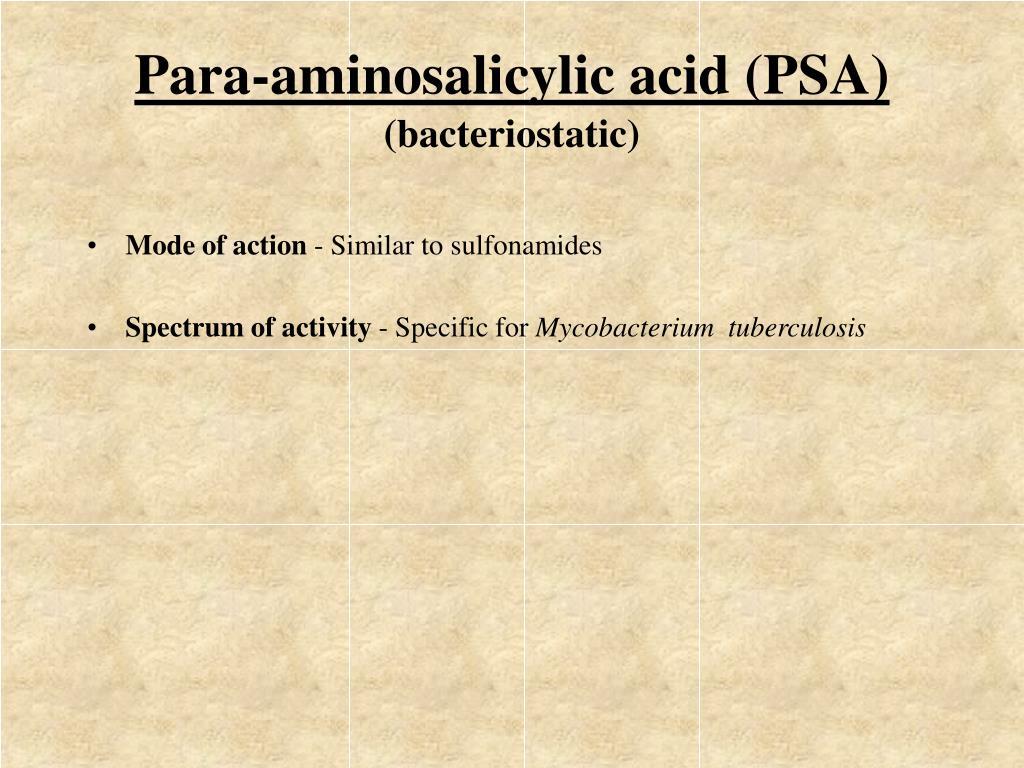Para-aminosalicylic acid (PSA)