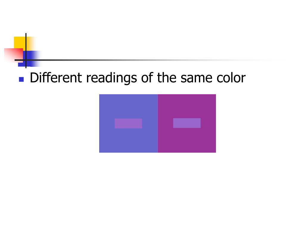 Different readings of the same color