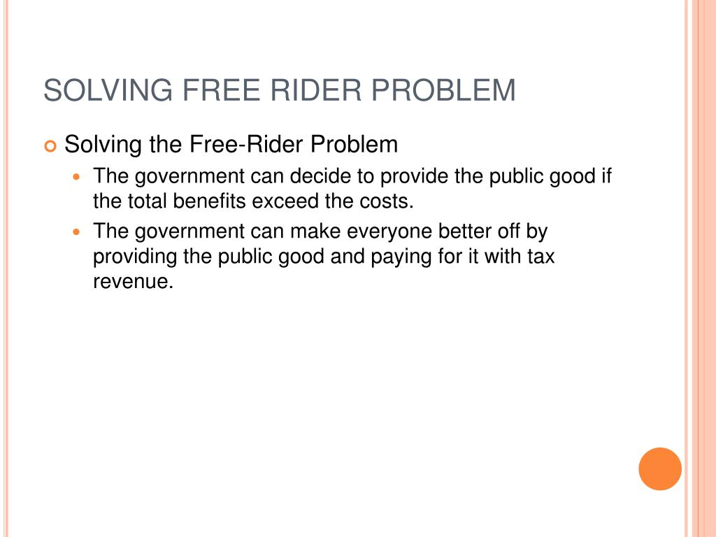 SOLVING FREE RIDER PROBLEM