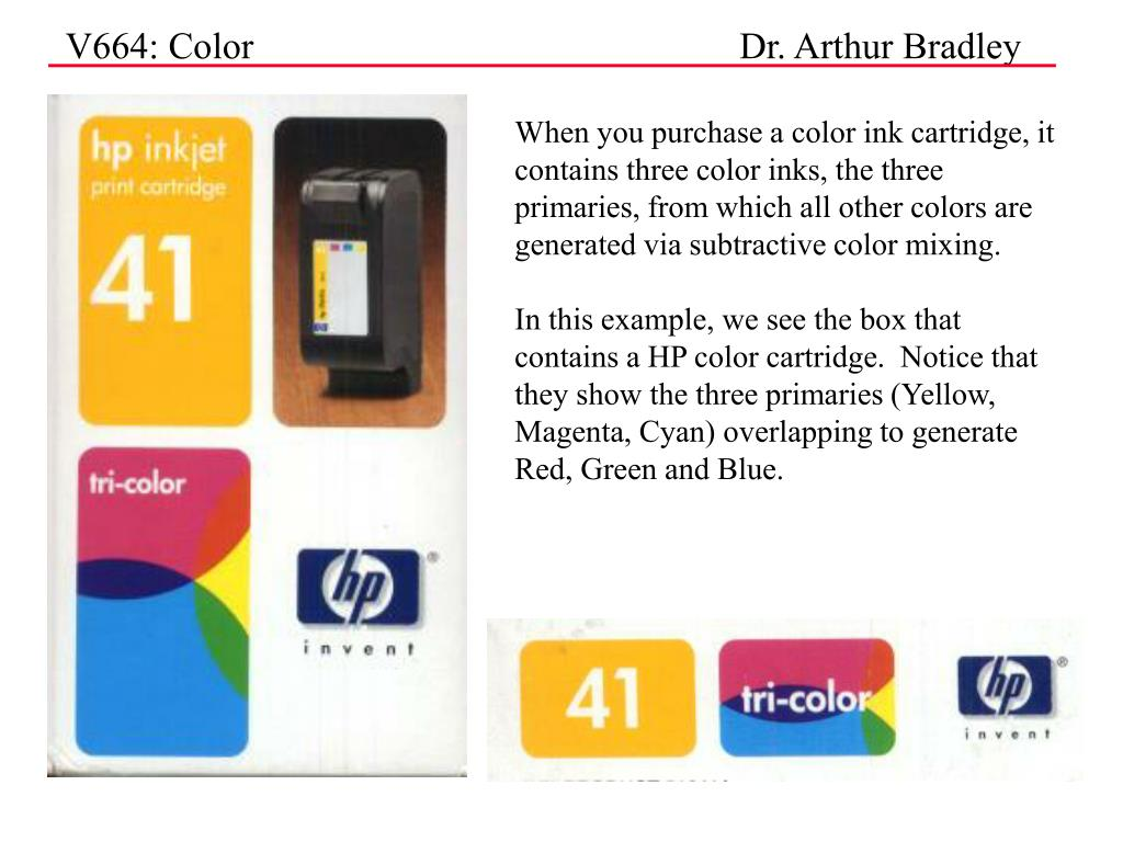 When you purchase a color ink cartridge, it contains three color inks, the three primaries, from which all other colors are generated via subtractive color mixing.