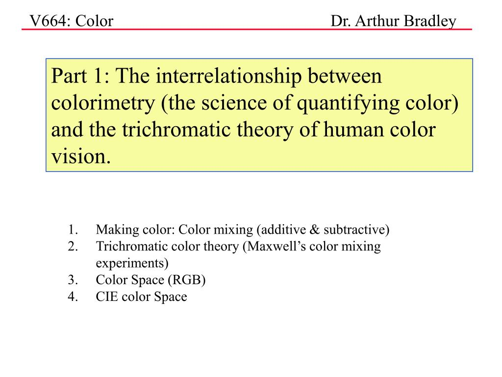 Part 1: The interrelationship between colorimetry (the science of quantifying color) and the trichromatic theory of human color vision.