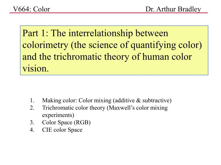 Part 1: The interrelationship between colorimetry (the science of quantifying color) and the trichro...