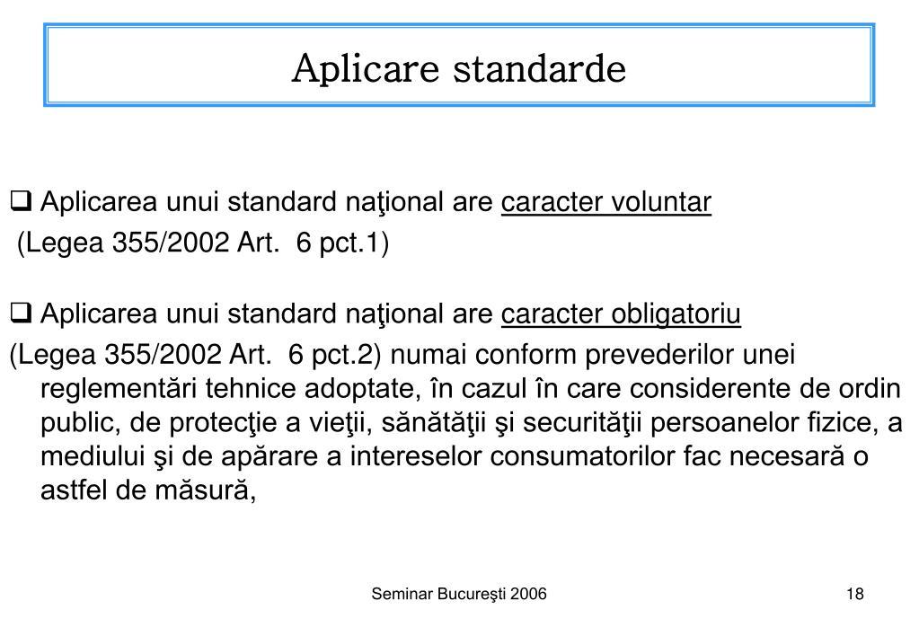 Aplicare standarde