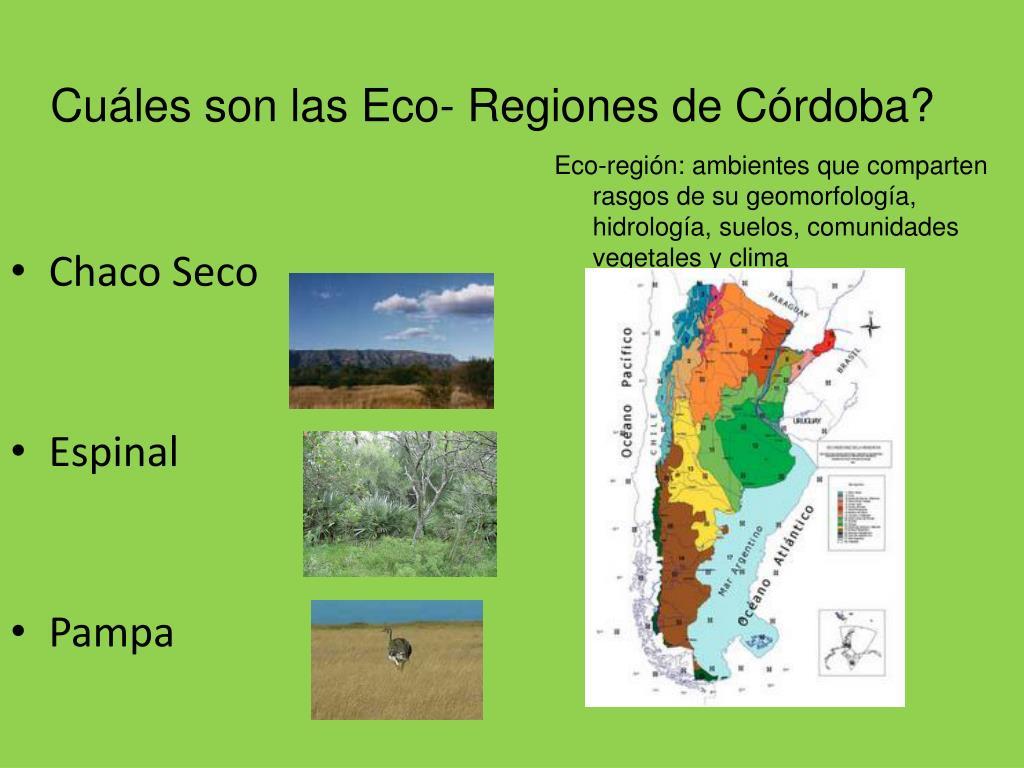 Cuáles son las Eco- Regiones de Córdoba?