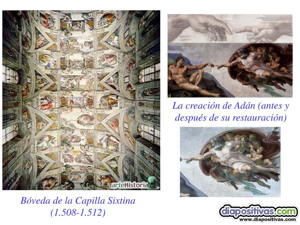 La creación de Adán (antes y después de su restauración)