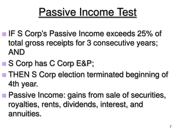 Passive Income Test