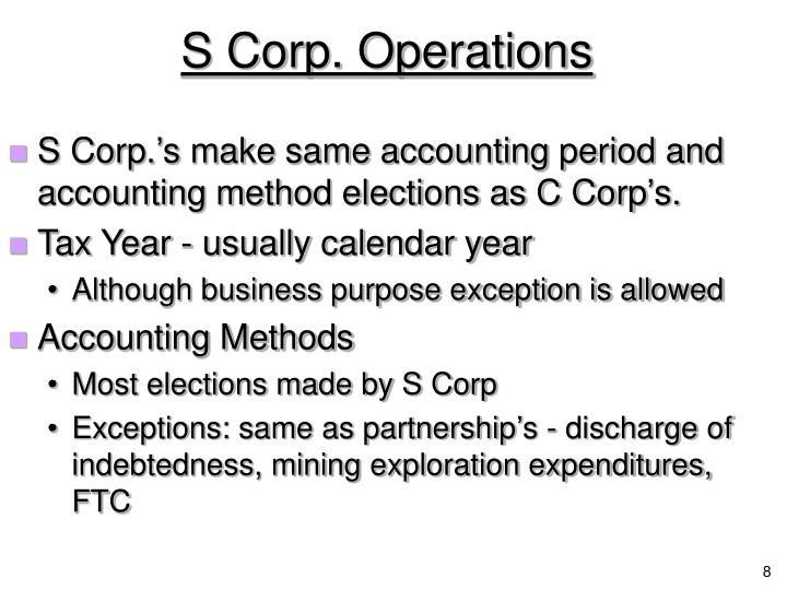 S Corp. Operations