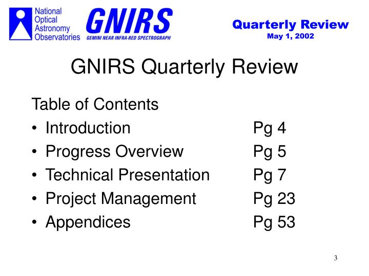 Gnirs quarterly review