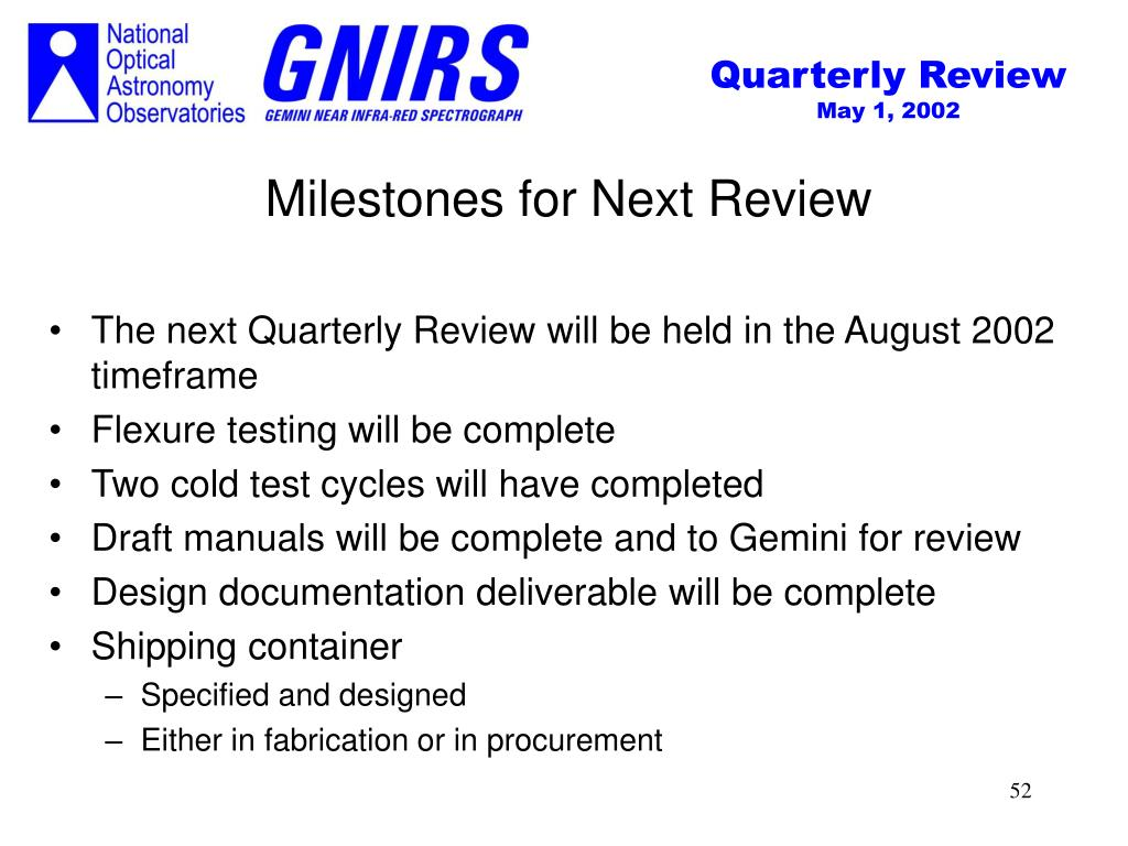 Milestones for Next Review