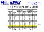 project milestones by quarter