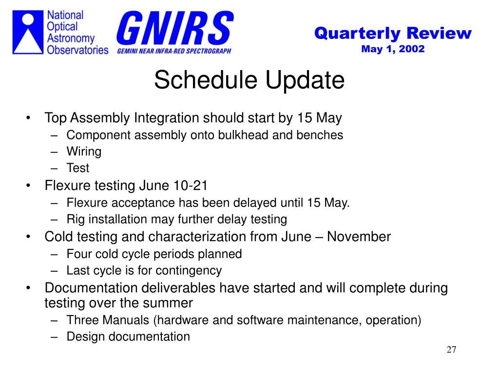 Schedule Update