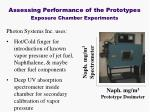 assessing performance of the prototypes exposure chamber experiments