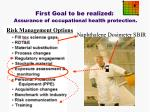 first goal to be realized assurance of occupational health protection