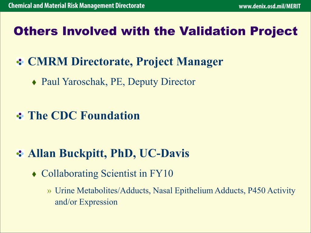 Others Involved with the Validation Project