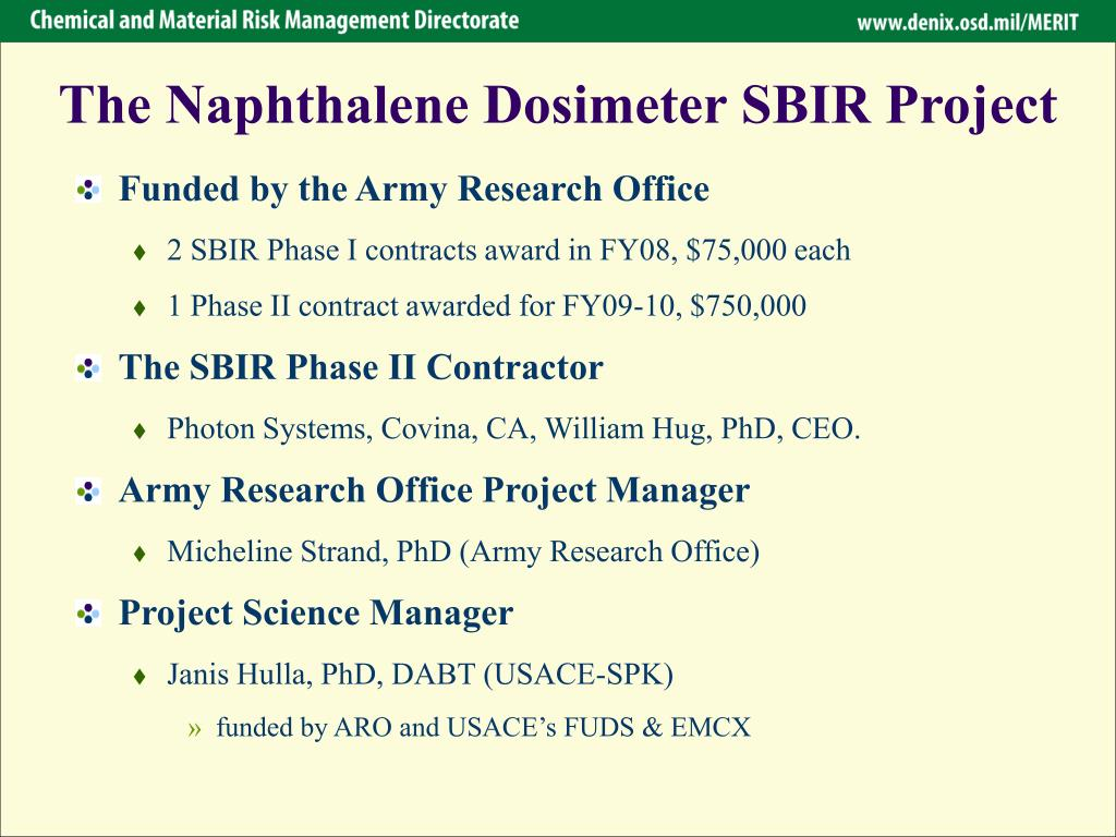 The Naphthalene Dosimeter SBIR Project