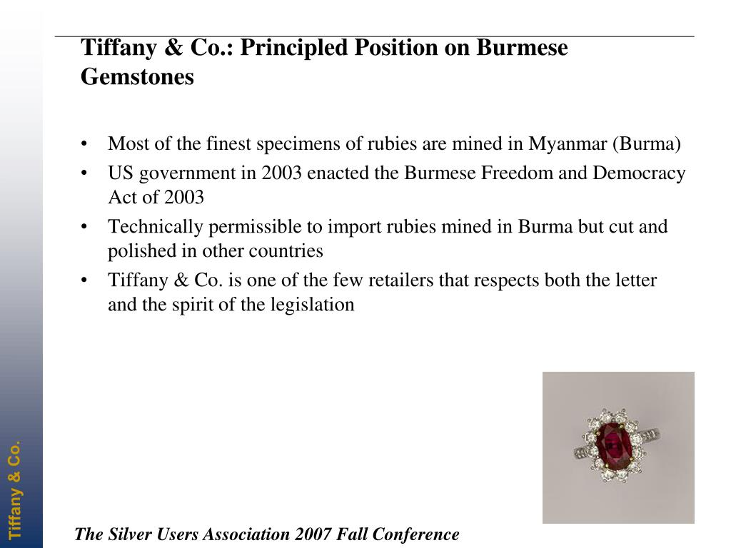 Tiffany & Co.: Principled Position on Burmese Gemstones