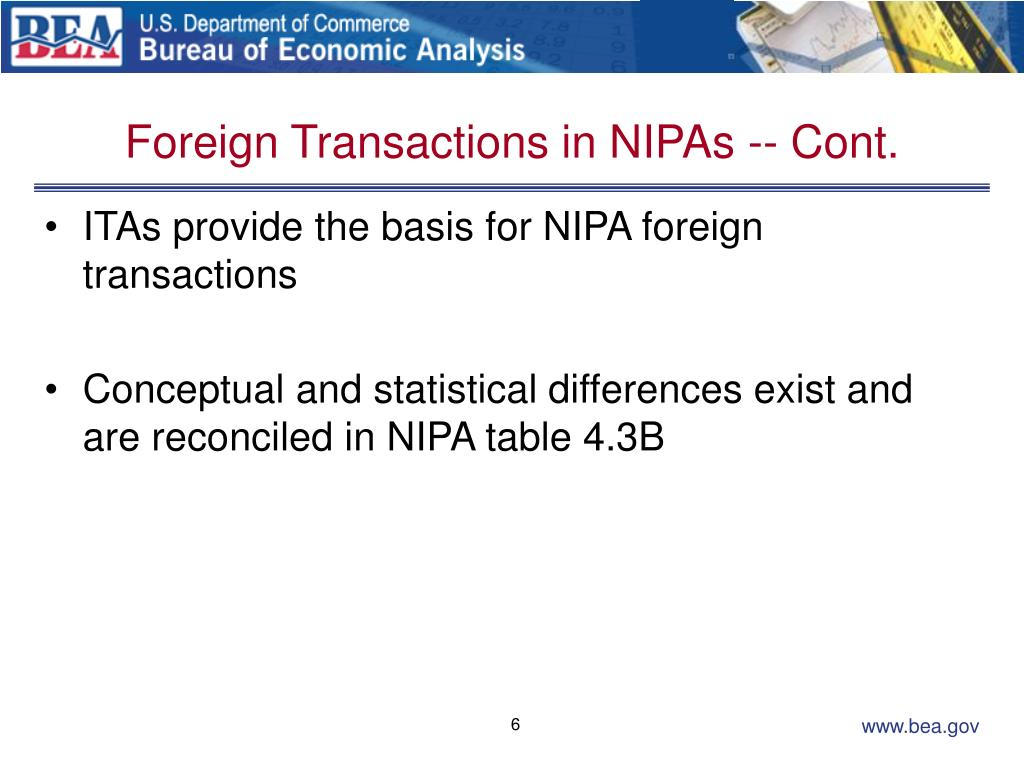 Foreign Transactions in NIPAs -- Cont.