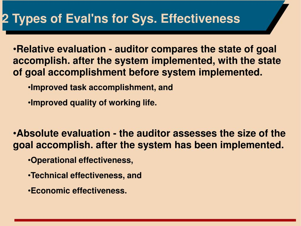 2 Types of Eval'ns for Sys. Effectiveness