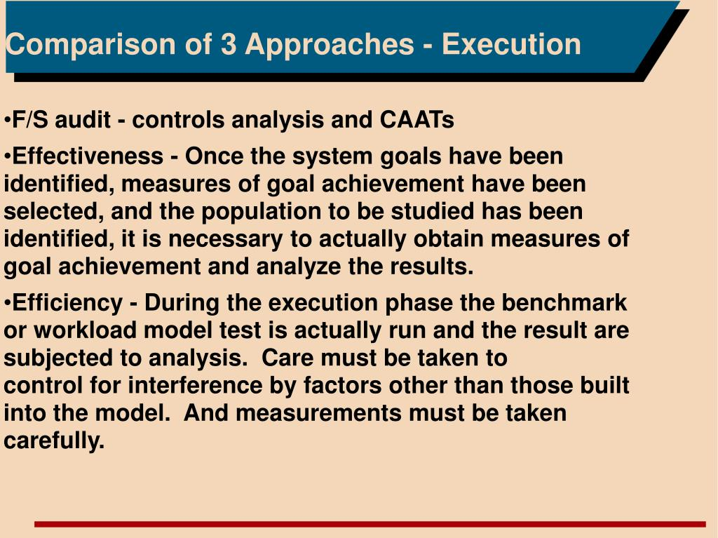 Comparison of 3 Approaches - Execution