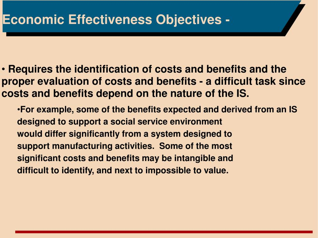 Economic Effectiveness Objectives -