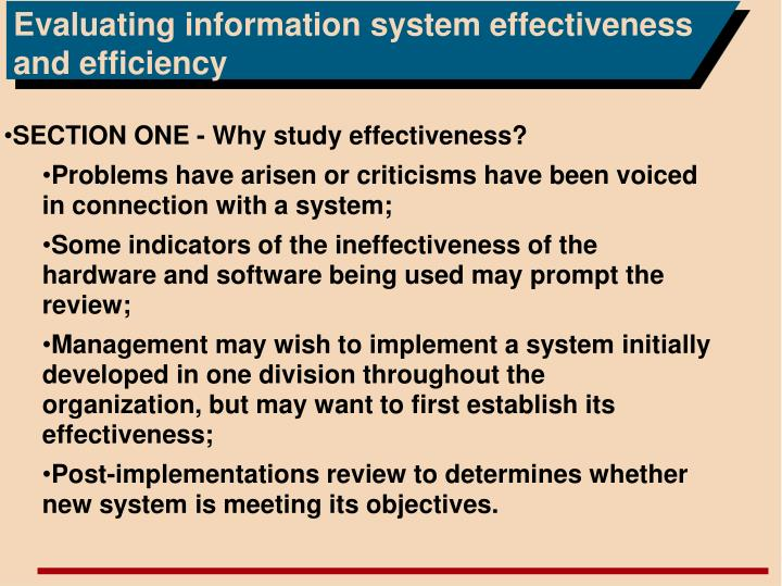 Evaluating information system effectiveness and efficiency