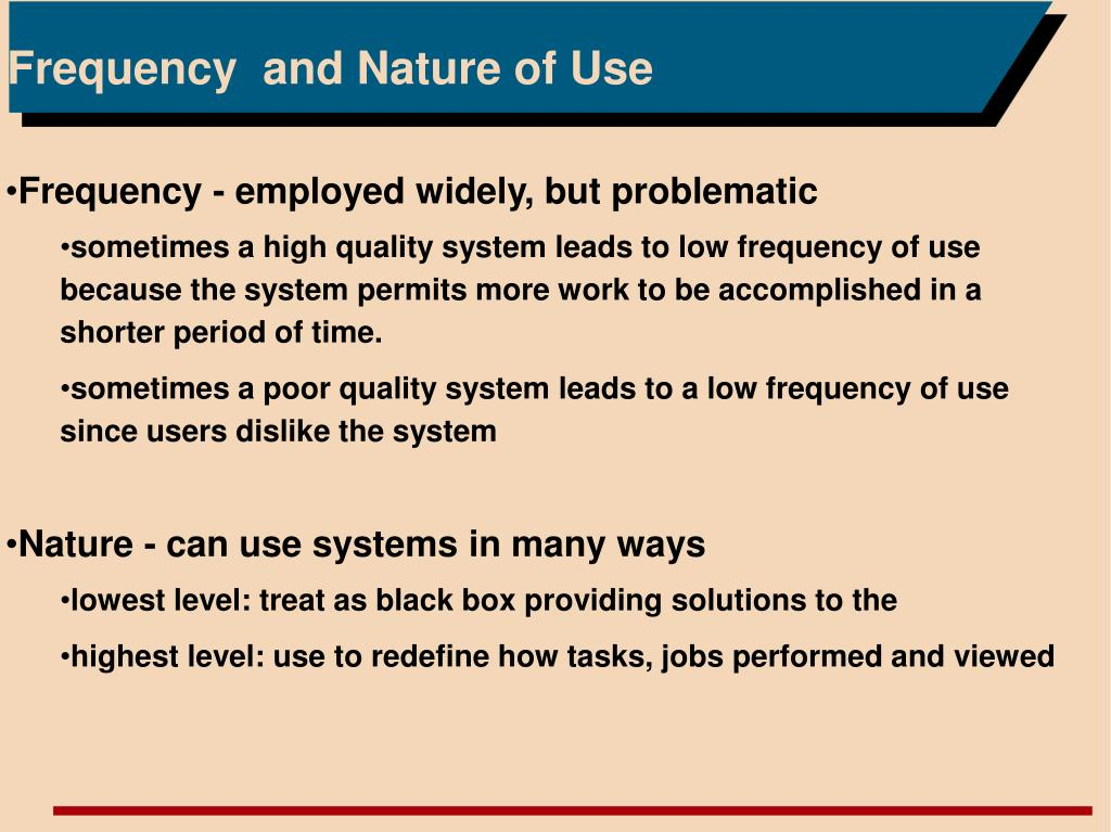 Frequency  and Nature of Use