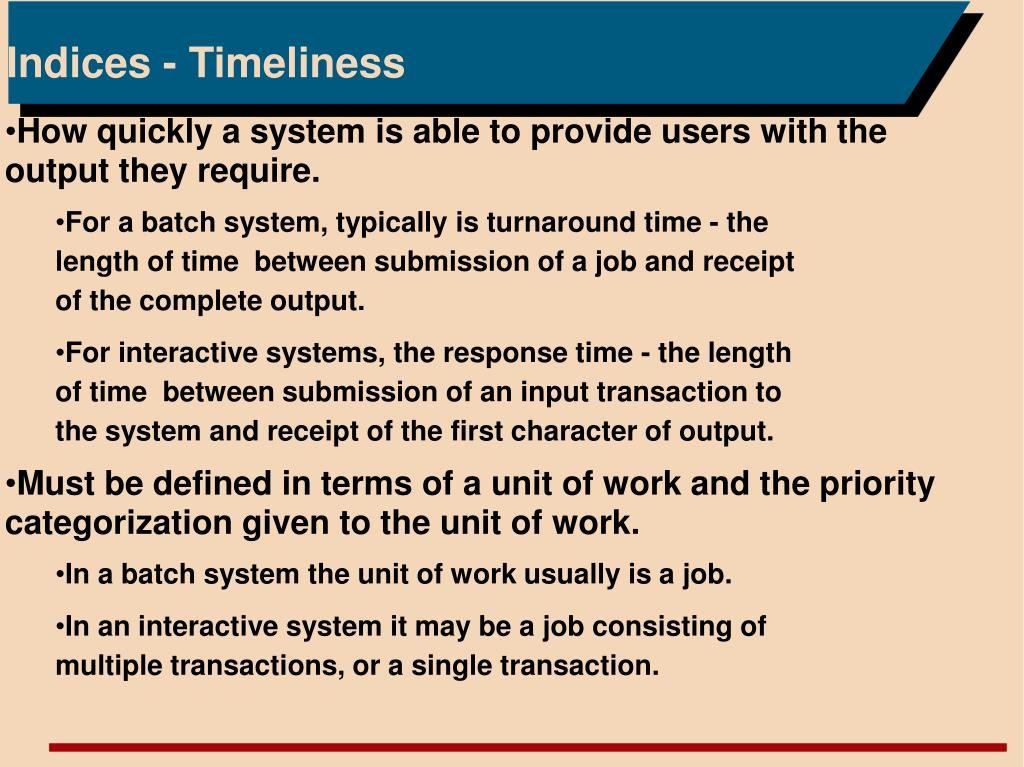 Indices - Timeliness