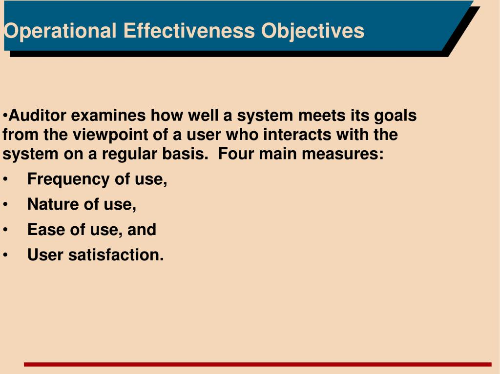 Operational Effectiveness Objectives