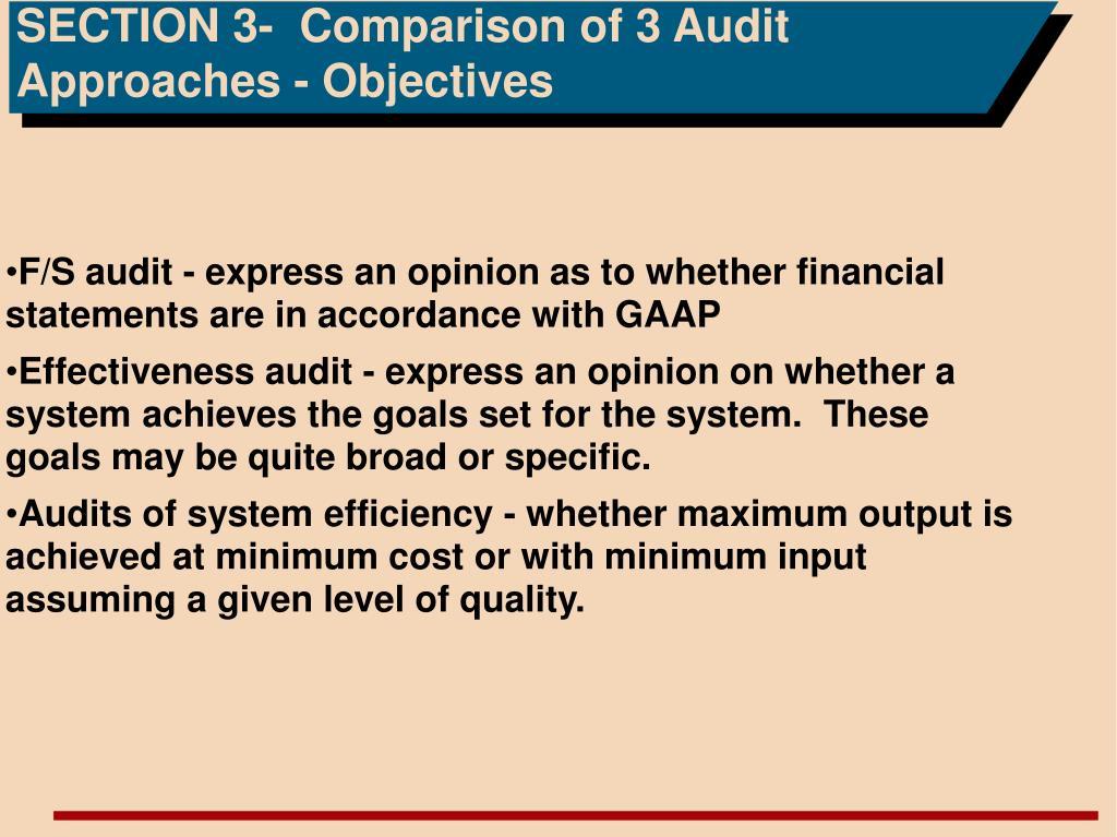 SECTION 3-  Comparison of 3 Audit