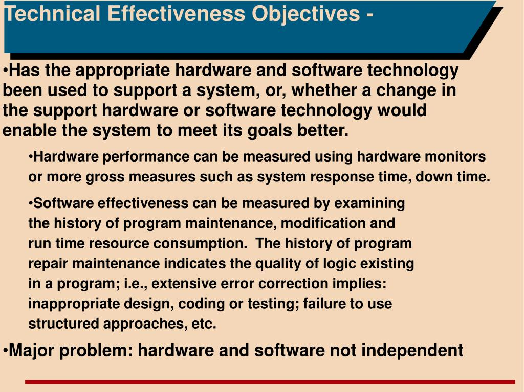 Technical Effectiveness Objectives -
